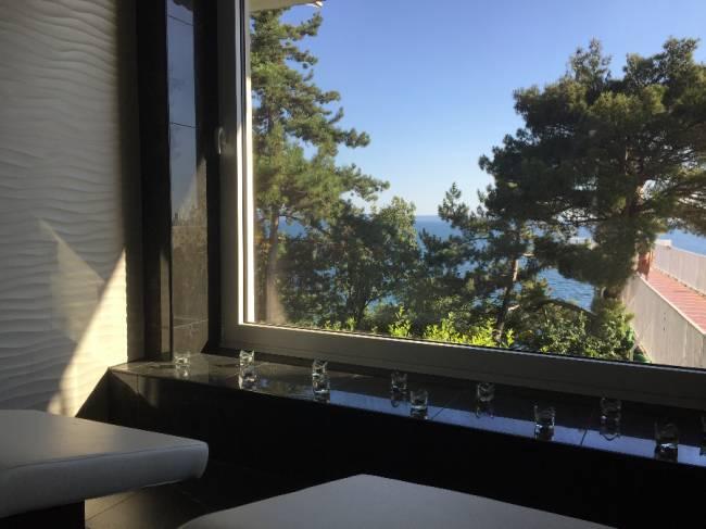 Sauna vista mare<br> Sauna with seaview<br> Sauna mit Meerblick
